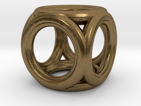 Mini cube pendant in Natural Bronze