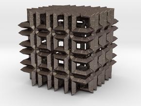 Fractal Cube FS48 in Polished Bronzed Silver Steel