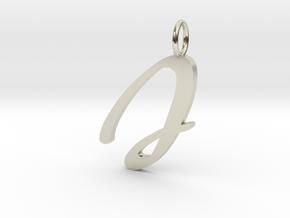 J Classic Script Initial Pendant Letter  in 14k White Gold