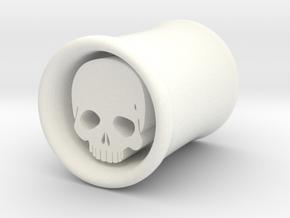 Skull Dangle Plug 00 Gauge in White Processed Versatile Plastic