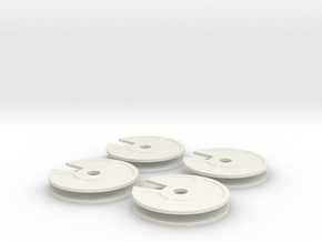 4x New Quarter Inch Dial in White Natural Versatile Plastic
