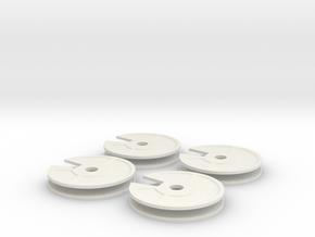 4x New Quarter Inch Dial in White Natural Versatile Plastic