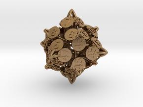 Player Order Die - 3D Print Only Version in Raw Brass