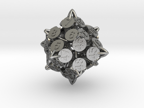 Player Order Die - 3D Print Only Version in Natural Silver