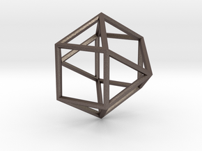 Cube Octohedron - 5cm in Polished Bronzed Silver Steel