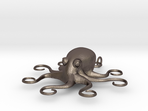 Octopus Pendant in Polished Bronzed Silver Steel