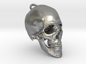 Human Skull With Loop in Natural Silver