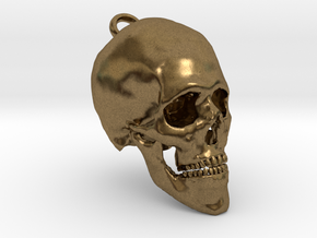 Human Skull With Loop in Natural Bronze