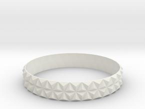 Bangle Bracelet Tetrahedron in White Natural Versatile Plastic
