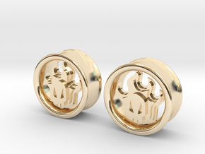 1 Inch Flame Skull Plugs in 14K Yellow Gold