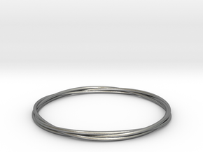 Three loops bangle in Natural Silver