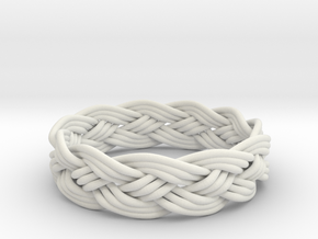Turks Head Ring Knot  in White Natural Versatile Plastic