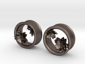 Cherry Blossom 1 Inch Tunnels in Polished Bronzed Silver Steel