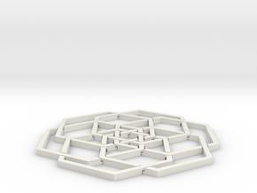 Hex Flower Coaster 80mm in White Natural Versatile Plastic