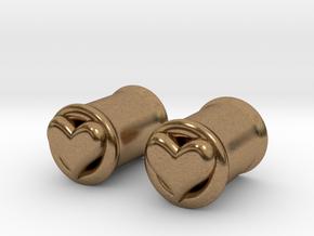 Heart 8mm (0 gauge) tunnels in Natural Brass