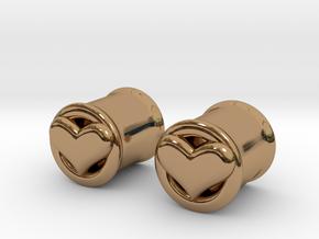 Heart 10mm (00 gauge) tunnels in Polished Brass