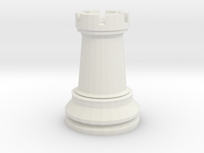Large Staunton Rook Chesspiece in White Natural Versatile Plastic