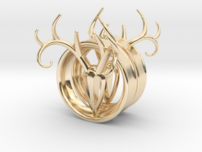 1 & 15/16 inch Antler Tunnels in 14K Yellow Gold