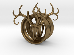 1 & 15/16 inch Antler Tunnels in Natural Bronze