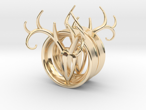 1 & 7/8 inch Antler Tunnels in 14K Yellow Gold