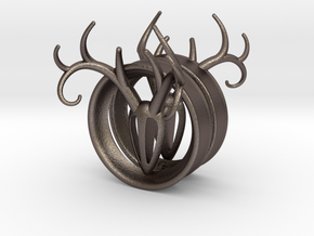 1 & 15/16 inch Antler Tunnels in Polished Bronzed Silver Steel