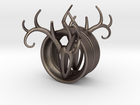 1 & 13/16 inch Antler Tunnels in Polished Bronzed Silver Steel