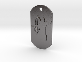 Bow Hunter Dog Tag in Polished Nickel Steel