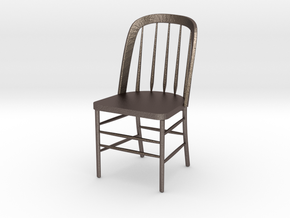 "Eustis Edison Chair Miniature 4"" tall in Polished Bronzed Silver Steel"