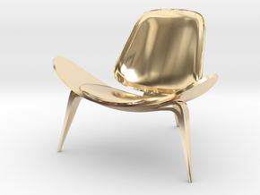 """Steelcase Shell Chair 2.8"""" tall in 14K Yellow Gold"""