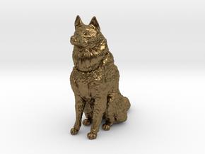Dog Figurine - Sitting Finnish Spitz 1:43,5 scale  in Natural Bronze