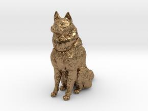 Dog Figurine - Sitting Finnish Spitz 1:43,5 scale  in Natural Brass