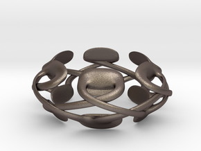 Pad Podz Ring in Polished Bronzed Silver Steel