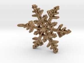 Schneeflocke  mit Öse in Natural Brass
