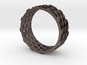 Parquet Deformation Ring (60mm) in Polished Bronzed Silver Steel