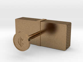 Money Cufflink in Natural Brass