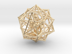 Solar Angel Starship: Sacred Geometry Dodecahedral in 14K Yellow Gold