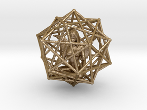 Solar Angel Starship: Sacred Geometry Dodecahedral in Polished Gold Steel