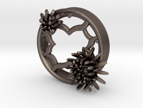 2 Inch Chrysanthemum Tunnels (LEFT) in Polished Bronzed Silver Steel
