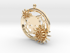 2 Inch Chrysanthemum And Skull Pendant in 14K Yellow Gold