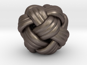 Tiny Turks Head Knot in Polished Bronzed Silver Steel