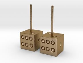 Dice Earrings in Polished Gold Steel