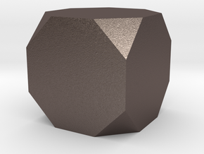 truncated cube in Polished Bronzed Silver Steel
