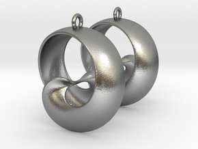 MobTor Earrings: the half Mobius Torus Shell in Natural Silver