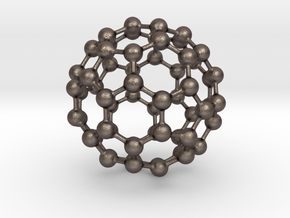 Buckyball C60 in Polished Bronzed Silver Steel