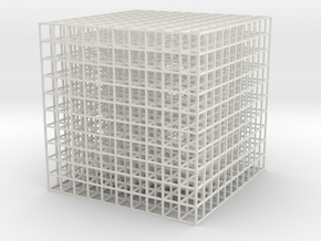 Mesh Cube100mm in White Natural Versatile Plastic