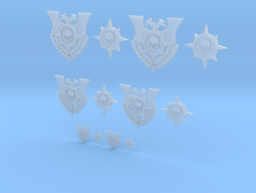 Compass Skull - 12 Icons Various Size in Smooth Fine Detail Plastic