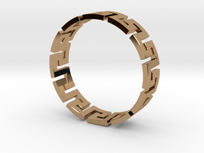 Meander Ring X12 in Polished Brass