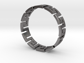 Meander Ring X12 in Polished Nickel Steel