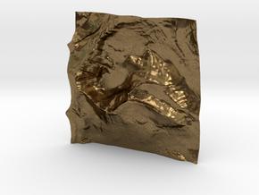 3'' Mt. Wilbur Terrain Model, Montana, USA in Natural Bronze