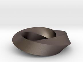 Mobius Loop - Square 3/4 twist in Polished Bronzed Silver Steel